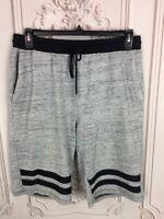 Jackson Mens XL Athletic Shorts Gray Black Heathered Drawstring Pockets Stripes