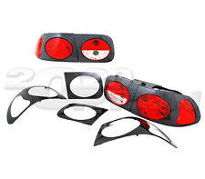 TYC FOR 92-95 HONDA CIVIC 2DR 4DR TAIL BRAKE LAMPS LIGHTS CARBON HOUSING