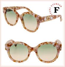 575f5b216e6 GUCCI GG0207S Nude Pink Marble Green Star DIVA Sunglasses 0207 005 Women