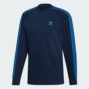 Adidas Originals 3 Stripe Long Sleeve Navy T-Shirt Small Medium XL 2XL BNWT
