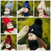 2pcs Girl Winter Scarf+Hat Women Warm Solid Pompoms Knitted Soft Cap Scarves Set