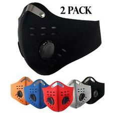 2PC Sport Cycling Face Mask With Active Carbon Filter Breathing Valves Washable