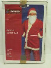 Premier Deluxe Santa Suit Christmas dress-up, hat, jacket, beard, belt, trousers