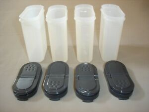 Tupperware Modular Mates Large Spice Shakers~Pour or Shake Charcoal Gray Seals