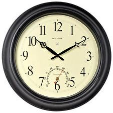 AcuRite - 50308A2- 18-inch Atomic Black Metal Outdoor Clock with Thermometer