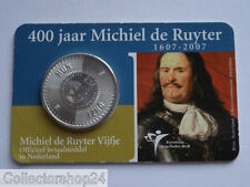 Netherlands Michiel de Ruyter vijfje 5 euro 2007 FDC in Coincard , Rare