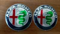 2X Alfa Romeo Embleme NEUES DESIGN GUILIA 74mm für 147 156 159 Mito Guilietta