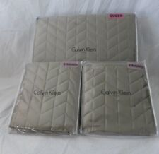 3 pc Calvin Klein Embroidery Olive Green Queen Quilt and Shams NIP