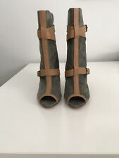 NEW VIVIENNE WESTWOOD SUEDE LEATHER OPEN TOE ANKLE HEEL BOOTS SIZE 36