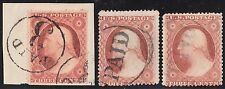 "#26A (3) DIFFERENT USED WITH ""PAID"" CANCELS CV $457.50 BR546"