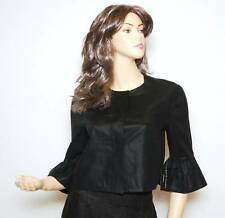Nwt $755 RALPH LAUREN Black Label Linen Ruffle Sleeve Cropped Jacket ~Black *8