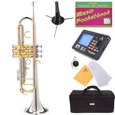 NEW SILVER & ROSE BRASS Monel Valves Bb Trumpet+Tuner