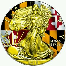 2015 Maryland State Flag US Silver Eagle 1oz Silver Coin - 24kt Gold..