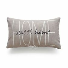 "Hofdeco His and Her Love Throw Pillow Case Valentine Gift Wedding Cushion Cover Tan Sweet Home Lumbar 20""x12"""