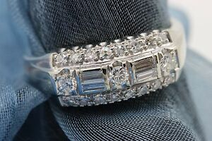 Estate Ring Pure 14k White Gold w/ 23 Diamond Round Baguette GOMEZ Signed sz 8.5