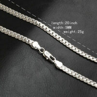 "Fashion 5mm 925 Silver Necklace Chain 20"" inch Jewelry Men Women Pendants"