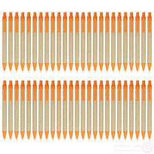 lot 50pcs orange plastic clip paper ball pen,ECO ballpoint pen,black ink refill