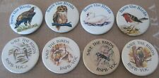 RSPB  vintage 1970s 1980s collection x8 campaign tin pin BADGES