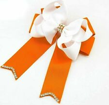5inch Rhinestone Center Boutique Cheer Bow Hair Barrette(Orange& White)