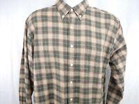 Viyella Mens Shirt Large Brown Plaid Wool Cotton Blend