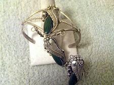 3 Long Oval Malachite Stone Slave Bracelet Sterling Silver Navajo Made