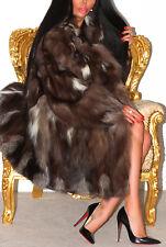 Magnifique Argent Bleu SAGA FOX réel véritable manteau de fourrure longue Veste magnifique! XL