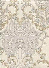 RC15066 Roberto Cavalli Gold & Silver Damask Wallpaper