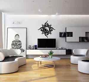 Tribal Ying Yang living room wall sticker - vinyl wall art