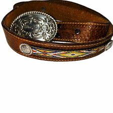 Wrangler Belt Silver Buckle Conchos Tooled Leather Woven Vintage 70086 size 26
