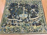 """4'5"""" x 5'1"""" Hanging French Tapestry - Fountain - Hand Made - 100% Wool"""