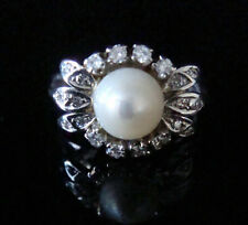 French Edwardian 18ct white gold cultured pearl and diamond ring