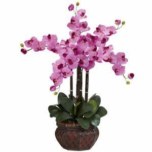 "Luxury Mauve Phalaenopsis w/Decorative Vase Faux Silk Flower Arrangement - 31"""