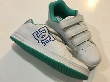 DC Shoes White Leather Green Accent Youth 6.5