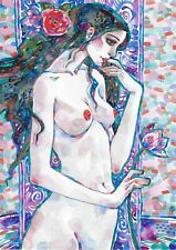 original drawing A3 465RM art by samovar watercolor female nude 2020