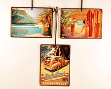 Surf Themed Signaments, Set of 3 Mini Metal Signs,Tropical, Hawaii, Cal
