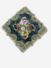 Antico micromosaico Spilla dorati metallo impressionante Craft con trama corde Lunetta
