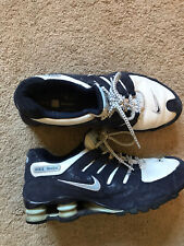 GOOD USED CONDITION Women's Blue & White Suede NIKE SHOX Shoes Size 10 PAISLEY