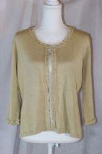 JOSEPH A Gold Silk Blend Bling Sparkle Top Clasp Cardigan Sweater Size XL