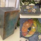 Vintage STUNNING Old ART NOVEAU DECO Wooden Box Tin FLORAL Cased