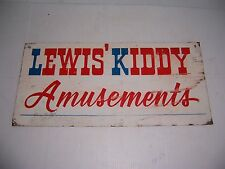 VINTAGE LEWIS' KIDDY AMUSEMENTS METAL SIGN