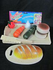 Anatina Toys Handmade Wooden 23 pc Play Food Set w/ Knife, Cutting Board & Tray