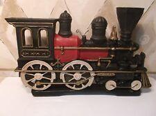 "Painted Cast Iron STEAM LOCOMOTIVE Railroad DOOR STOP 10 1/4"" Looks Perfect!"