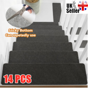 14Pcs Stair Tread Carpet Mats Step Staircase Non Slip Mat Protection Cover Pads