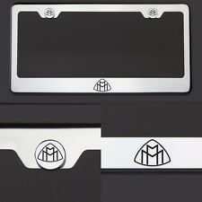 T304 SS Chrome Maybach Logo Black Laser Etched Engraved License Plate Frame Tag