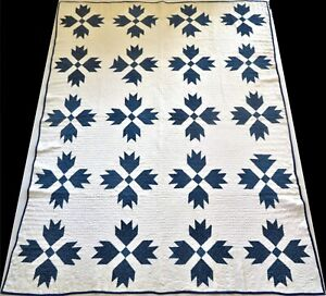 Unused Antique Late 1800's Hand Stitched 8 spi Blue & White Bear Paw Quilt 86x67