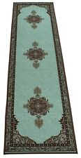 Persian Medallion Spa Blue Runner RugSlip Skid Resistant Rubber Back 2' x 7' Rug