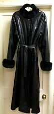 Vintage Italian Designer Black Faux Crocodile Rain Coat Lined & Trimmed in Fur