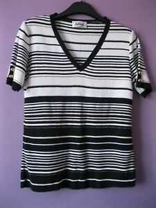 Afibel black gold white striped top 10-12 V-neck knitted style, short sleeve