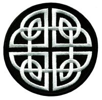 Celtic Knot Patch Embroidered Iron Sew On Applique Badge Cross biker Ireland