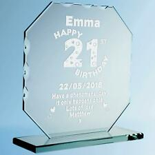 Daughters Engraved 21st Birthday Cut Glass Plaque Personalised Birthday Frame
